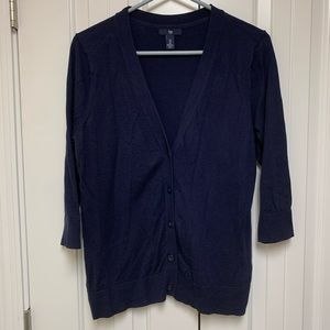 Gap Navy Button Front 3/4 Sleeve Cardigan Sweater